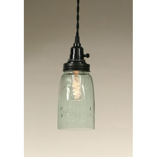 Quart Open Bottom Mason Jar Pendant Light - Rustic Brown