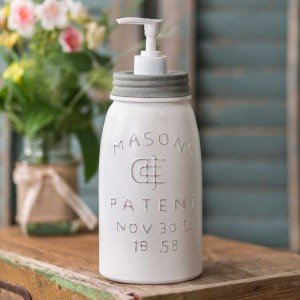 Quart White Mason Jar Soap Dispenser - Barn Roof