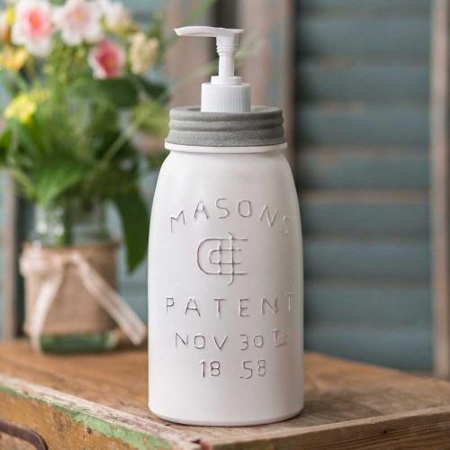 Quart White Mason Jar Soap Dispenser - Barn Roof