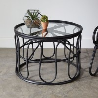Rattan and Glass Coffee Table in Black