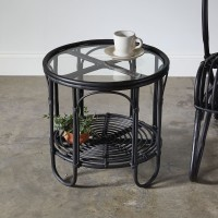 Rattan and Glass Side Table in Black