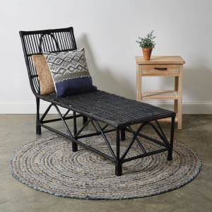 Rattan Chaise Lounge Chair in Black