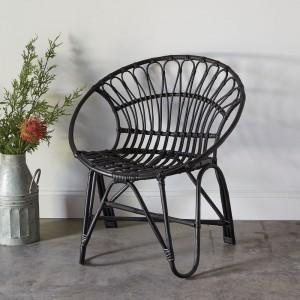 Rattan Round Chair in Black