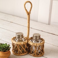 Rattan Salt and Pepper Caddy with Handle