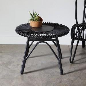 Rattan Side Table in Black