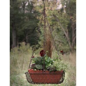 Rectangular Hanging Basket with Terra Cotta Pot - Green/Rust