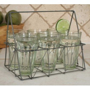 Galvanized Rectangular Wire Caddy with Six Glasses