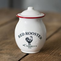 """Red Trim Rooster"" Canister"