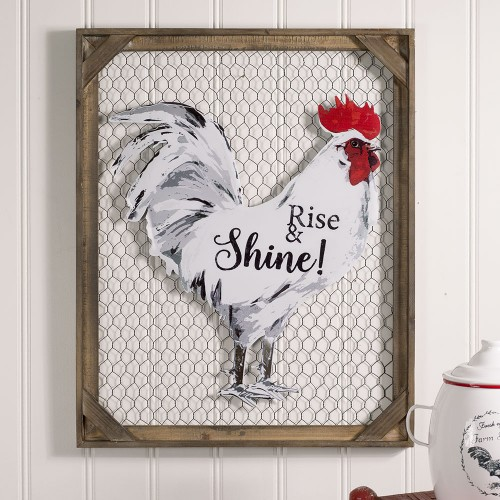 """""""Rise & Shine!"""" Chicken Wall Décor with Chicken Wire"""