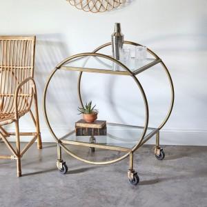 Round Antique Brass Bar Cart