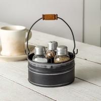 Round Bucket Salt Pepper and Toothpick Caddy - Black
