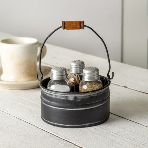 Round Bucket Salt Pepper and Toothpick Caddy - Black