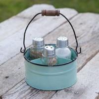 Round Bucket Salt Pepper and Toothpick Caddy - Seafoam