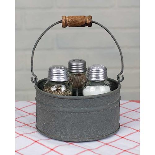 Round Bucket Salt Pepper and Toothpick Caddy