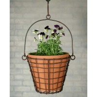 Round Hanging Basket with Terra Cotta Pot