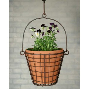 Round Hanging Basket with Terra Cotta Pot