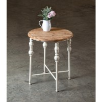 Round Wood Top Table with Metal Legs