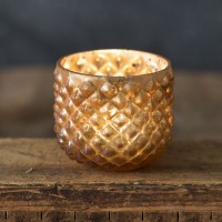 Rounded Hobnail Mercury Glass Votive Holder
