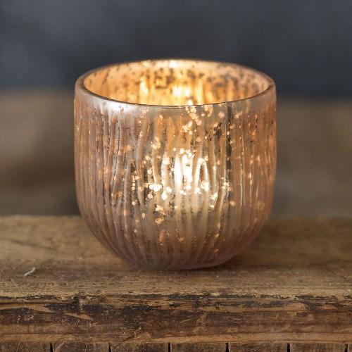 Rounded Textured Mercury Glass Votive Holder