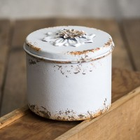 Rustic Flower Round Container