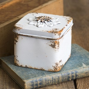Rustic Flower Square Container