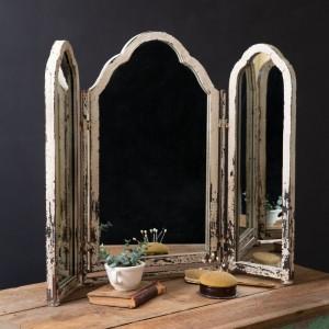 Rustic Tri-Fold Tabletop Mirror