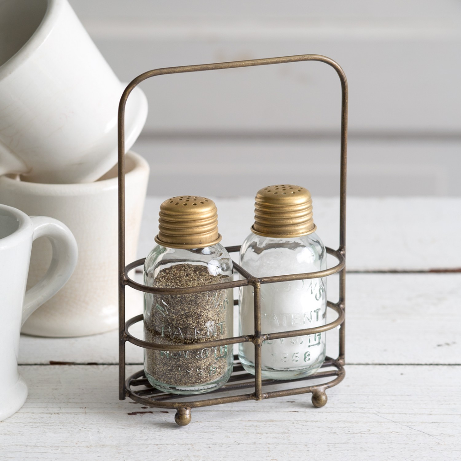 Rustic Farmhouse Salt And Pepper Carrier With Shakers Antique Brass