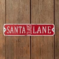 Santa Claus Lane Metal Wall Sign