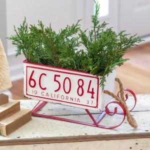 Santa's Sleigh License Plate Bin