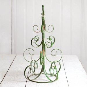 Scrolled Metal Christmas Tree - Green