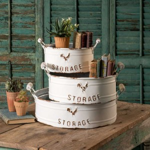 Set of 3 Nested Round Storage Bins with Handles