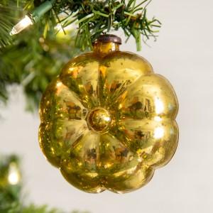 Set of 4 Gold Pillow Glass Ornament