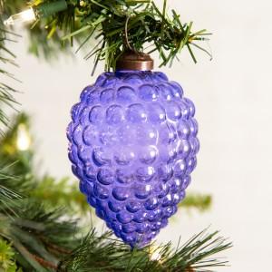Set of 4 Grapes Glass Ornament