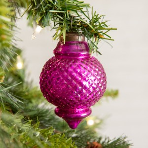 Set of 4 Pink Lamp Shaped Glass Ornament