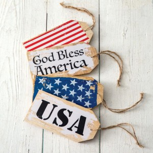 Set of Four Patriotic Wooden Tags