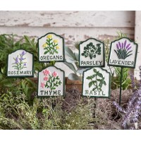 Set of Six Herb Garden Plant Stakes