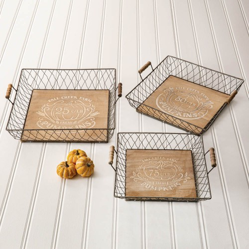 Set of Three Autumn Wood and Metal Trays