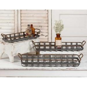 Set of Three Basketweave Trays