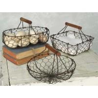 Set Of Three Chicken Wire Baskets