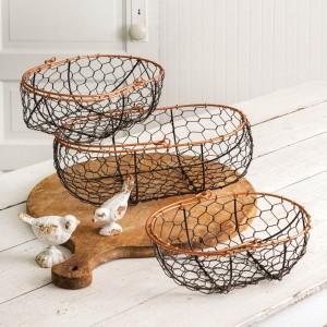 Set of Three Chicken Wire Gathering Baskets