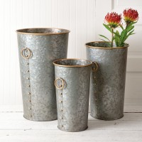 Set of Three Flower Buckets with Ring