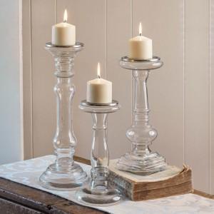 Set of Three Glass Pillar Candle Holders