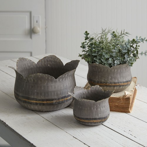 Set of Three Lotus Flower Containers