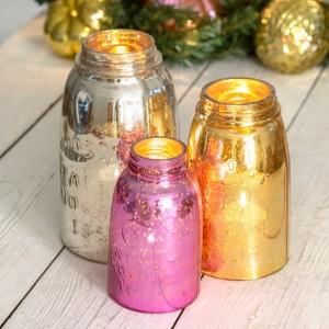 Set of Three Mercury Glass Mason Jar Chimneys
