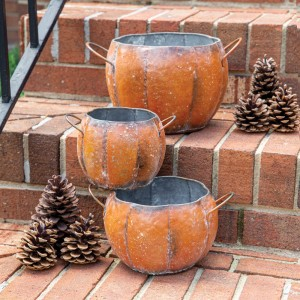 Set of Three Metal Pumpkin Containers