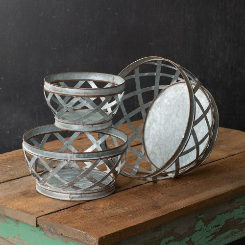 Set of Three Metal Woven Baskets