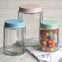 Set of Three Multi-Sided Glass Jars