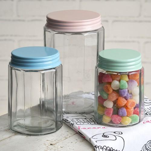 Set of Three Multi-Sided Glass Jars