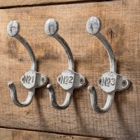Set of Three Numbered Wall Hooks