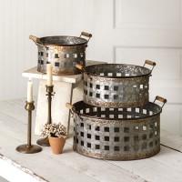 Set of Three Open Weave Baskets